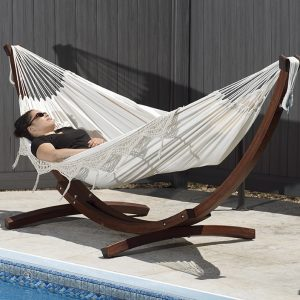 Double Cotton Hammock with Solid Pine Arc Stand- Natural