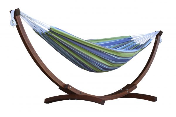 Double Cotton Hammock with Solid Pine Arc Stand- Oasis