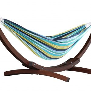 Double Cotton Hammock with Solid Pine Arc Stand- Cayo Reef (8ft)