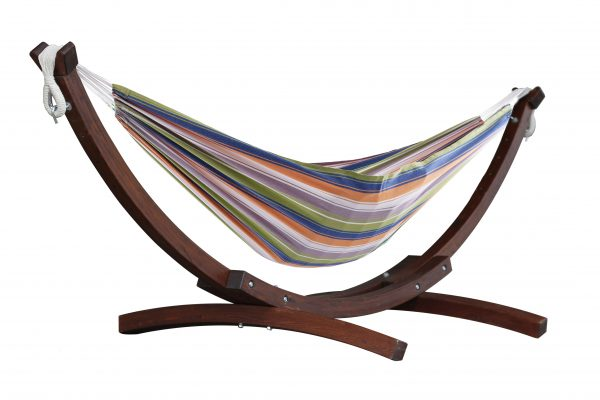 Double Cotton Hammock with Solid Pine Arc Stand - Pumpkin Spice (8ft)