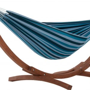 Double Cotton Hammock with Solid Pine Arc Stand- Blue Lagoon