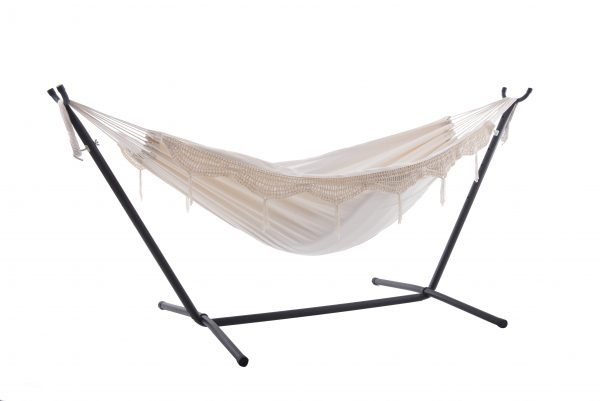 Double Deluxe Natural with Fringe Hammock with Stand (8ft)