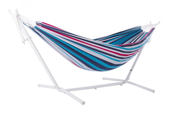 Double Denim Hammock with White stand
