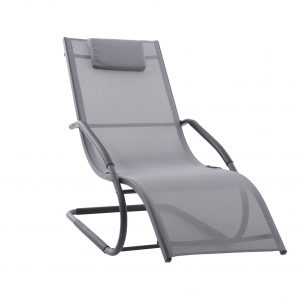 Wave Lounger Grey on Matte Black