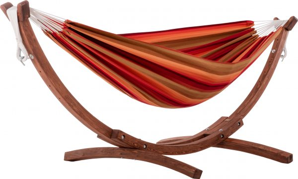 Double Sunbrella Hammock with Solid Pine Arc Stand- Sunset