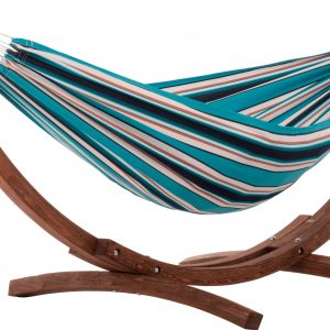Double Sunbrella Hammock with Solid Pine Arc Stand - Token Surfside